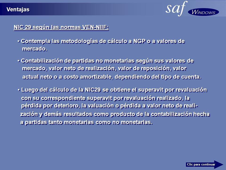NIC 29 según las normas VEN-NIIF: Ventajas Clic para continuar Contabilización de partidas no monetarias según sus valores de mercado, valor neto de realización, valor de reposición, valor Contempla las metodologías de cálculo a NGP o a valores de mercado.