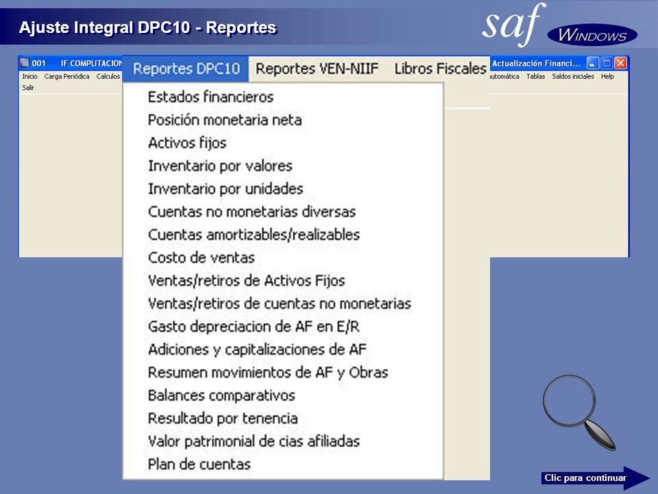 Ajuste Integral DPC10 - Reportes Clic para continuar