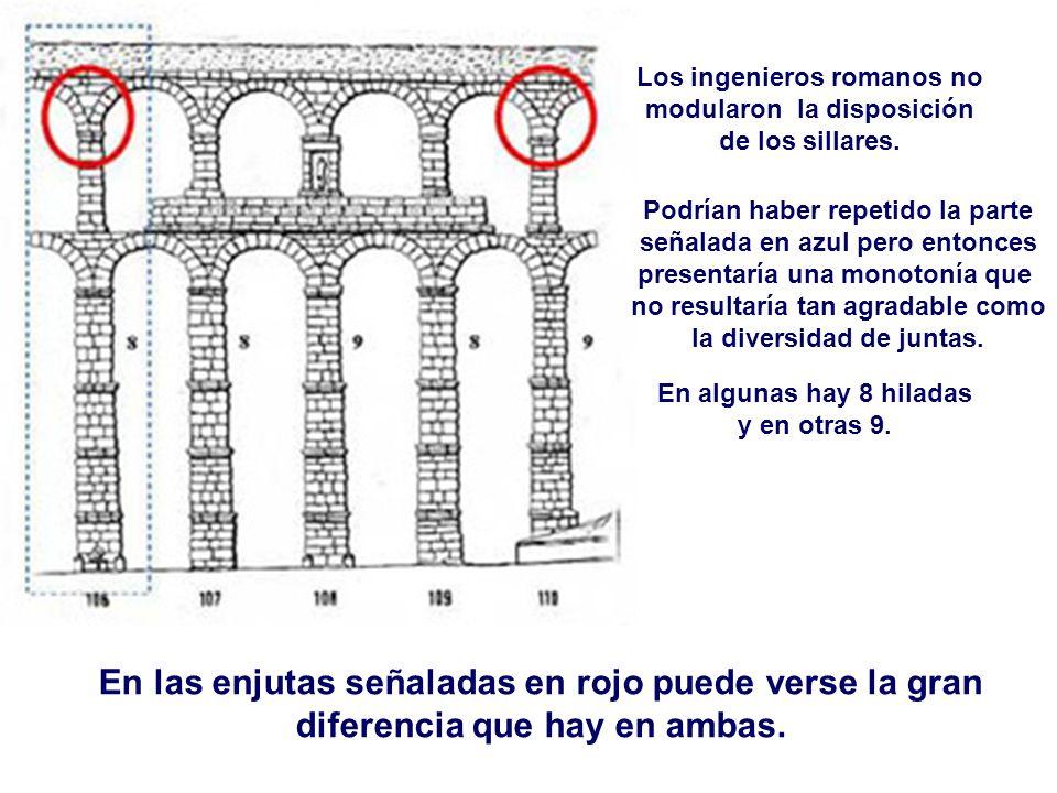En las enjutas señaladas en rojo puede verse la gran diferencia que hay en ambas. Los ingenieros romanos no modularon la disposición de los sillares.