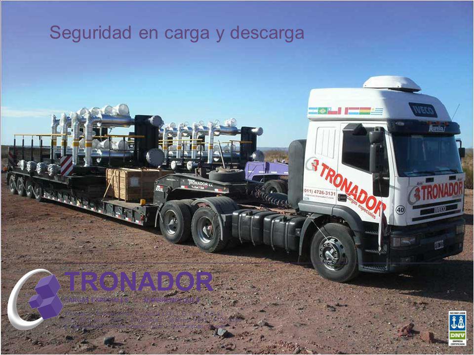 Seguridad en carga y descarga TRONADOR CARGAS ESPECIALES - SEMIRREMOLQUES Oficinas en Buenos Aires: Colombia 1341 l El Talar (1618) Pcia. de Buenos Ai