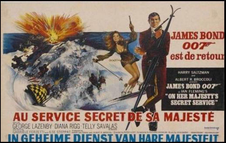 Diana Rigg comoTracy Draco Conjunto de chicas Bond participantes en la película 007 al servicio secreto de du Majestad
