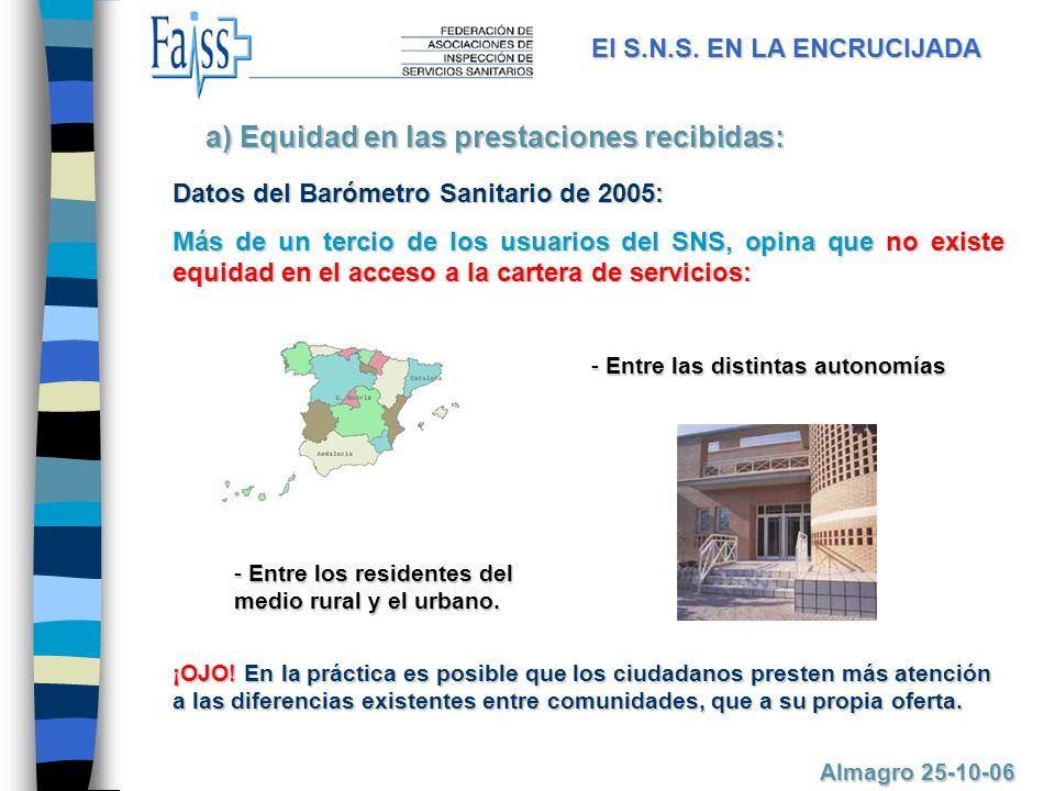 Datos del Barómetro Sanitario de 2005: Más de un tercio de los usuarios del SNS, opina que no existe equidad en el acceso a la cartera de servicios: a) Equidad en las prestaciones recibidas: El S.N.S.