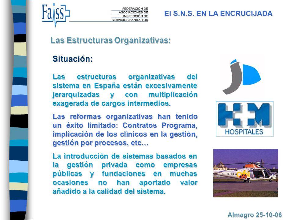 Las estructuras organizativas del sistema en España están excesivamente jerarquizadas y con multiplicación exagerada de cargos intermedios.