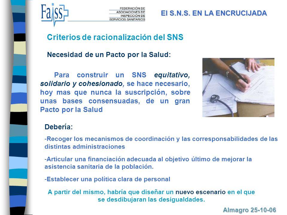 Para construir un SNS equitativo, solidario y cohesionado, se hace necesario, hoy mas que nunca la suscripción, sobre unas bases consensuadas, de un gran Pacto por la Salud Necesidad de un Pacto por la Salud: El S.N.S.