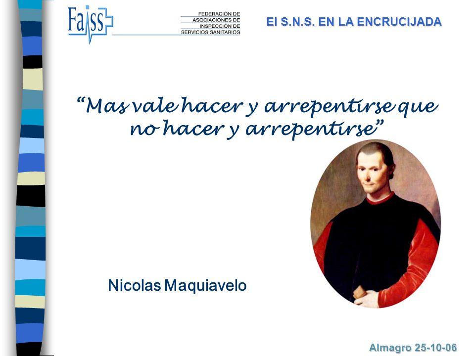 Mas vale hacer y arrepentirse que no hacer y arrepentirse Nicolas Maquiavelo El S.N.S.