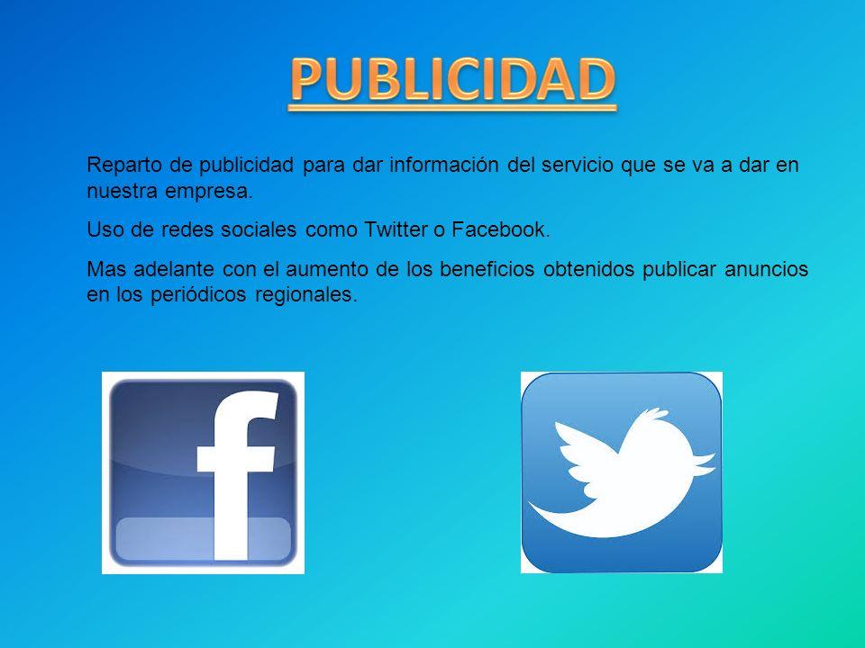 Reparto de publicidad para dar información del servicio que se va a dar en nuestra empresa. Uso de redes sociales como Twitter o Facebook. Mas adelant