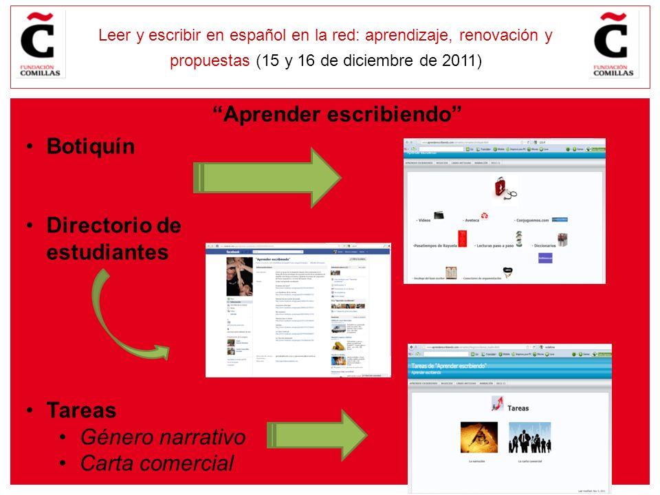 E Leer y escribir en español en la red: aprendizaje, renovación y propuestas (15 y 16 de diciembre de 2011) Botiquín Directorio de estudiantes Tareas Género narrativo Carta comercial Aprender escribiendo