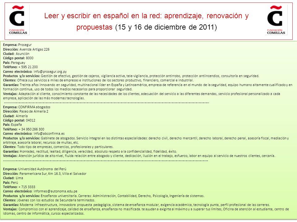 E Leer y escribir en español en la red: aprendizaje, renovación y propuestas (15 y 16 de diciembre de 2011) Guardar OBJETIVO: Escribir una carta de co
