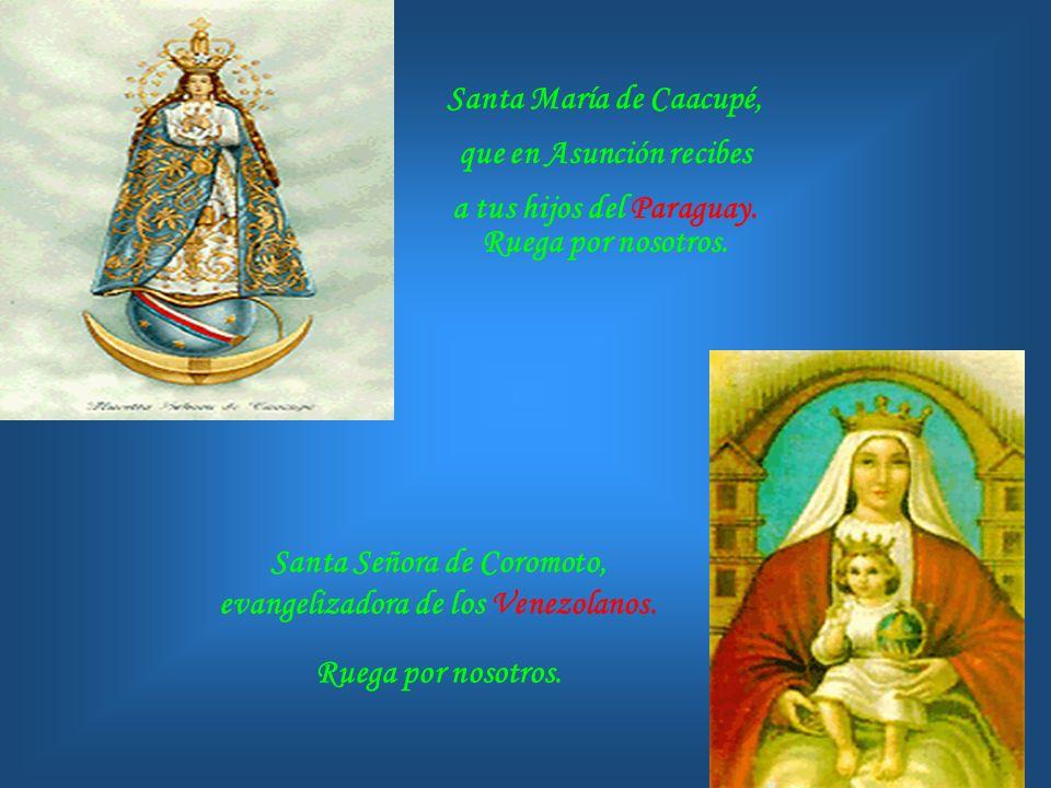 Virgencita de Luján, Madre amorosa que quisiste que tus colores vistiesen la bandera Argentina. Ruega por nosotros. Virgen de los 33, que educas a los