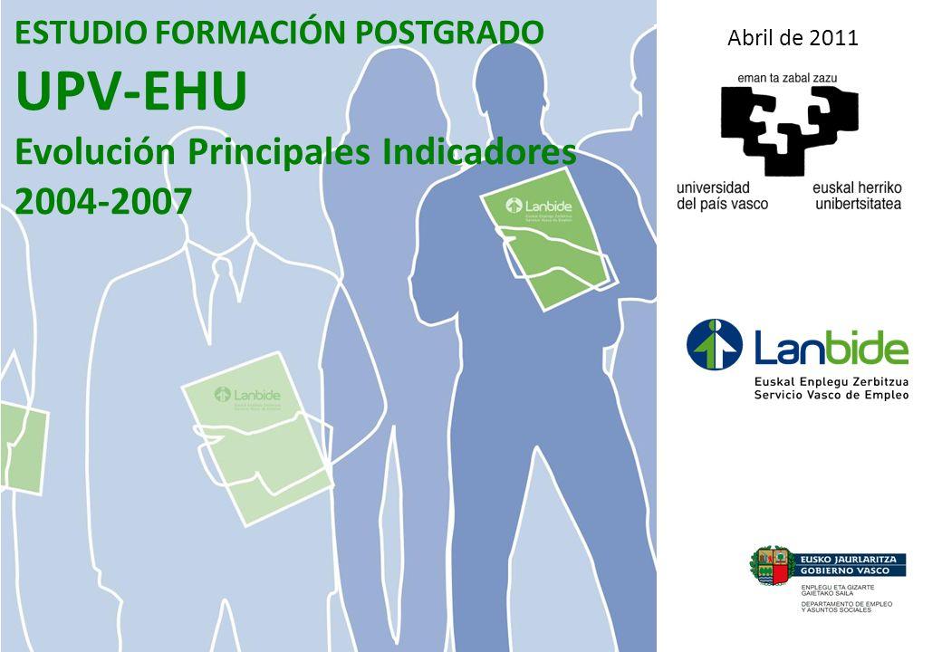 ESTUDIO FORMACIÓN POSTGRADO UPV-EHU Evolución Principales Indicadores 2004-2007 Abril de 2011
