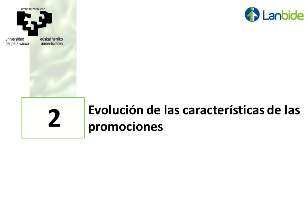 Evolución de las características de las promociones 2