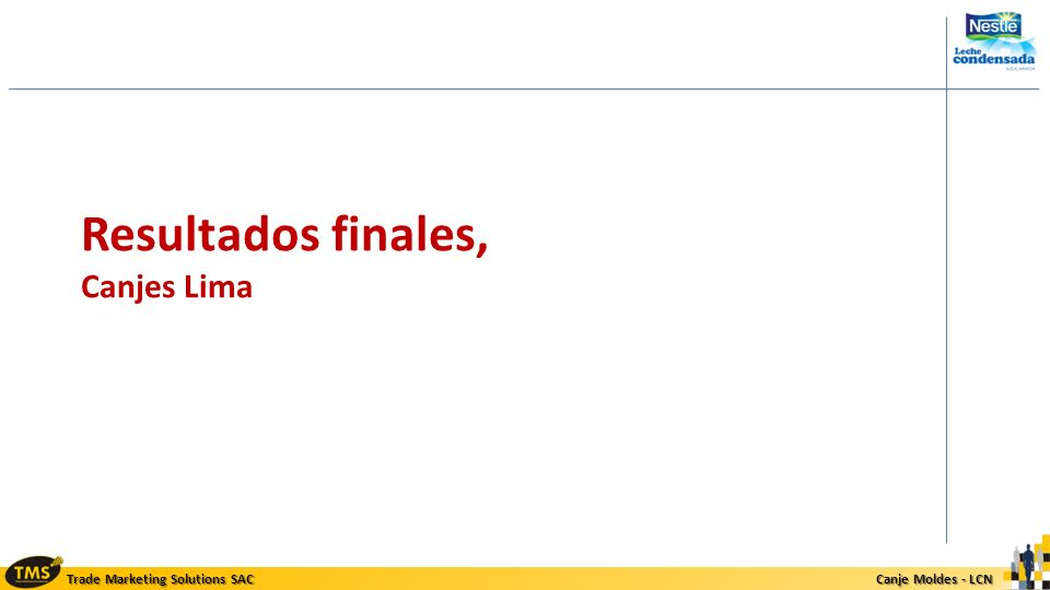 Trade Marketing Solutions SAC Canje Moldes - LCN Canje Moldes - LCN Resultados finales, Canjes Lima