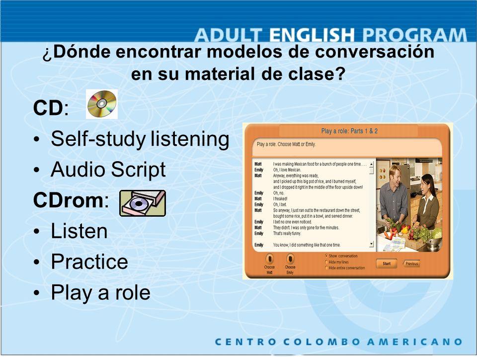 ¿Dónde encontrar modelos de conversación en su material de clase.