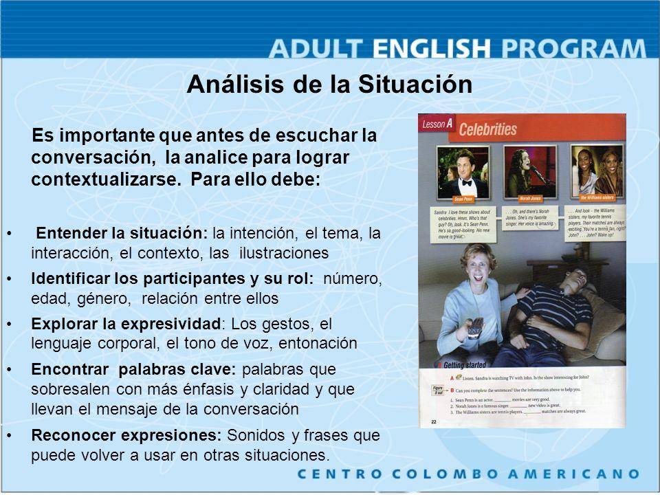 Análisis de la Situación Es importante que antes de escuchar la conversación, la analice para lograr contextualizarse.