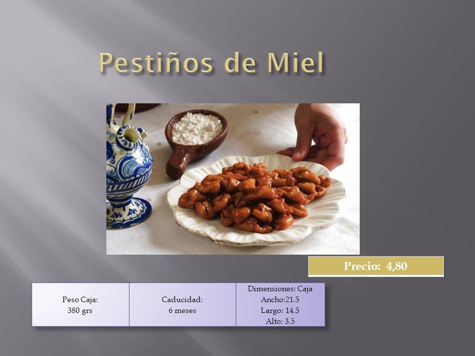 6 Roscos de pasta de té 4 Pastas de Almendra 6 Pastas de Coco 3 Cookies de Chocolate 3 Cortadillos 1 Piñonada Contiene:: Precio: 6,70