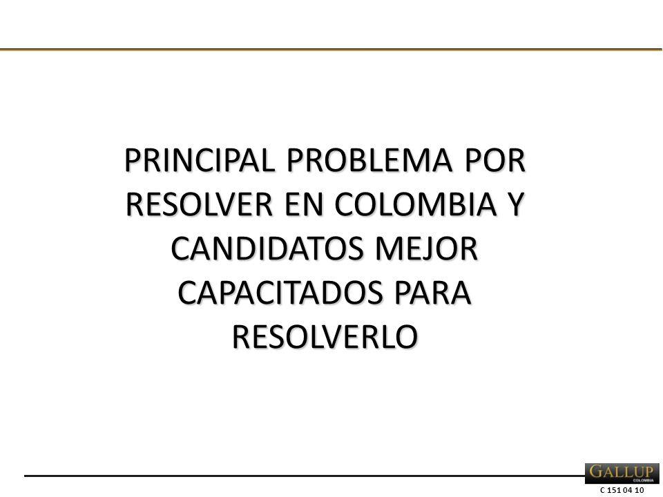C 151 04 10 PRINCIPAL PROBLEMA POR RESOLVER EN COLOMBIA Y CANDIDATOS MEJOR CAPACITADOS PARA RESOLVERLO