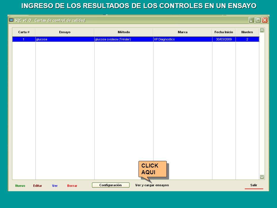 INGRESO DE LOS RESULTADOS DE LOS CONTROLES EN UN ENSAYO CLICK AQUI CLICK AQUI