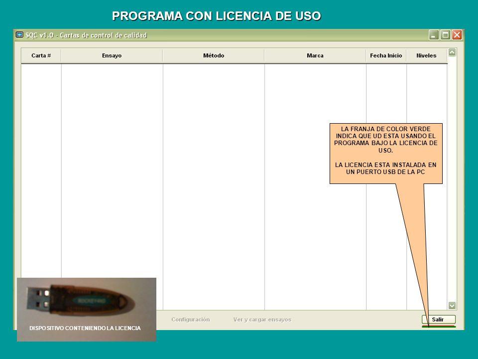 PROGRAMA CON LICENCIA DE USO LA FRANJA DE COLOR VERDE INDICA QUE UD ESTA USANDO EL PROGRAMA.