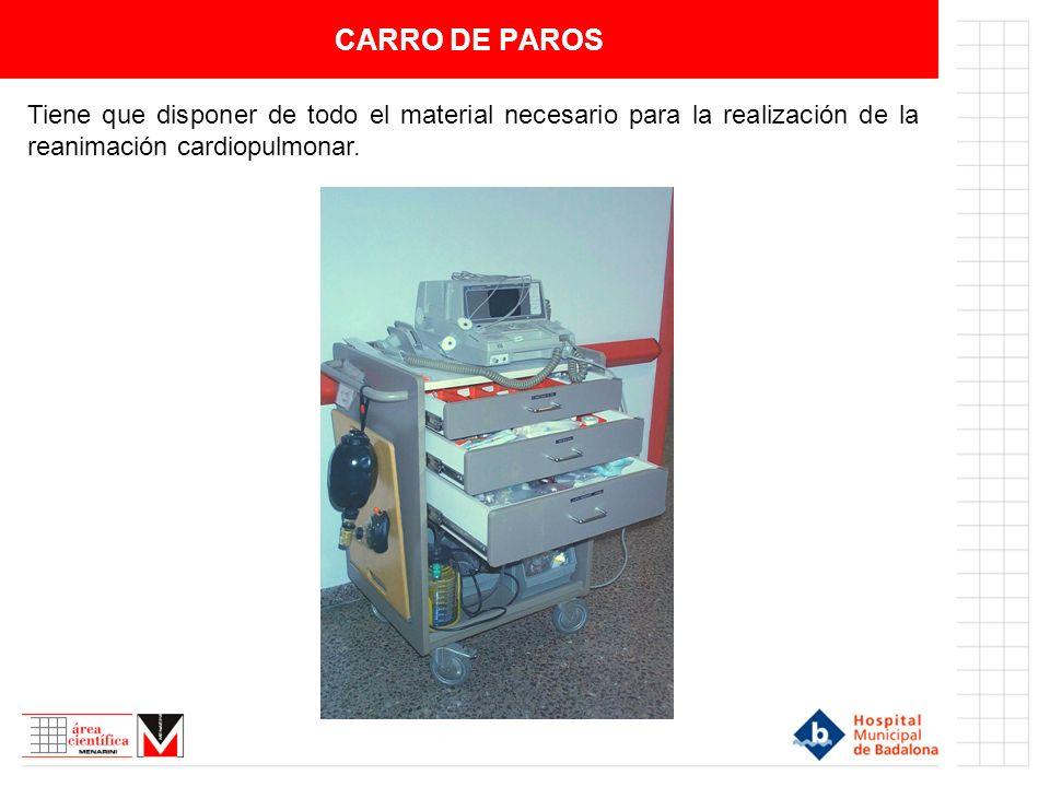 CARRO DE PAROS Tiene que disponer de todo el material necesario para la realización de la reanimación cardiopulmonar.