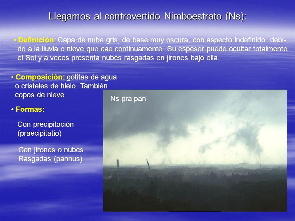 Llegamos al controvertido Nimboestrato (Ns): Definición: Capa de nube gris, de base muy oscura, con aspecto indefinido debi- do a la lluvia o nieve qu