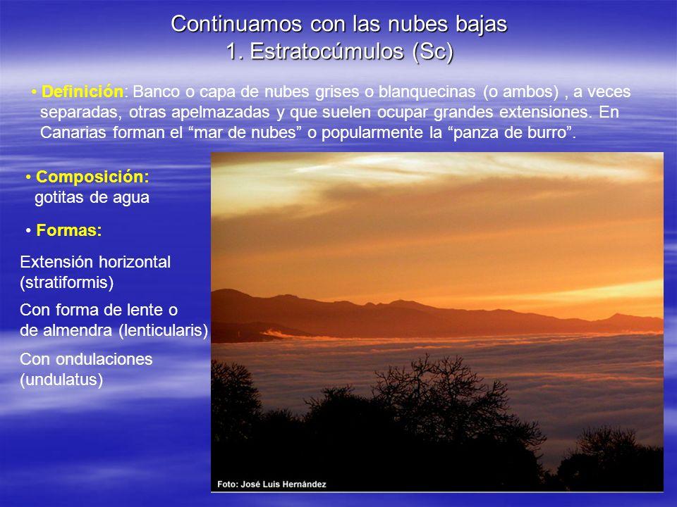 Continuamos con las nubes bajas 1. Estratocúmulos (Sc) Definición: Banco o capa de nubes grises o blanquecinas (o ambos), a veces separadas, otras ape