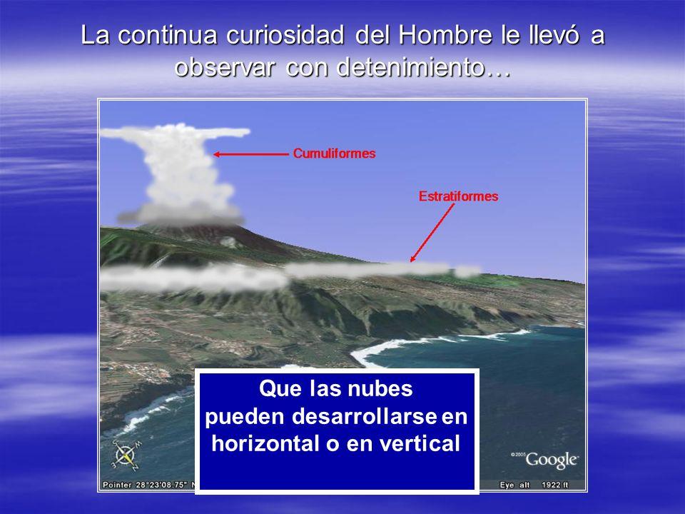 La continua curiosidad del Hombre le llevó a observar con detenimiento… Que las nubes pueden desarrollarse en horizontal o en vertical