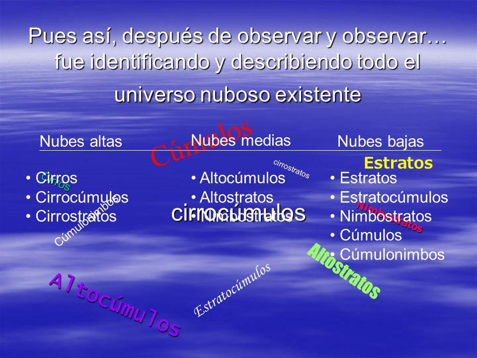 Pues así, después de observar y observar… fue identificando y describiendo todo el universo nuboso existente Cirros cirrocúmulos cirrostratos Altocúmu