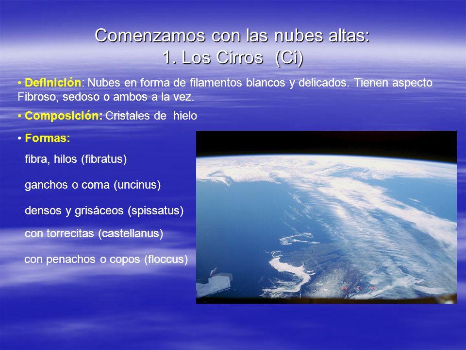 Comenzamos con las nubes altas: 1. Los Cirros (Ci) Definición: Nubes en forma de filamentos blancos y delicados. Tienen aspecto Fibroso, sedoso o ambo
