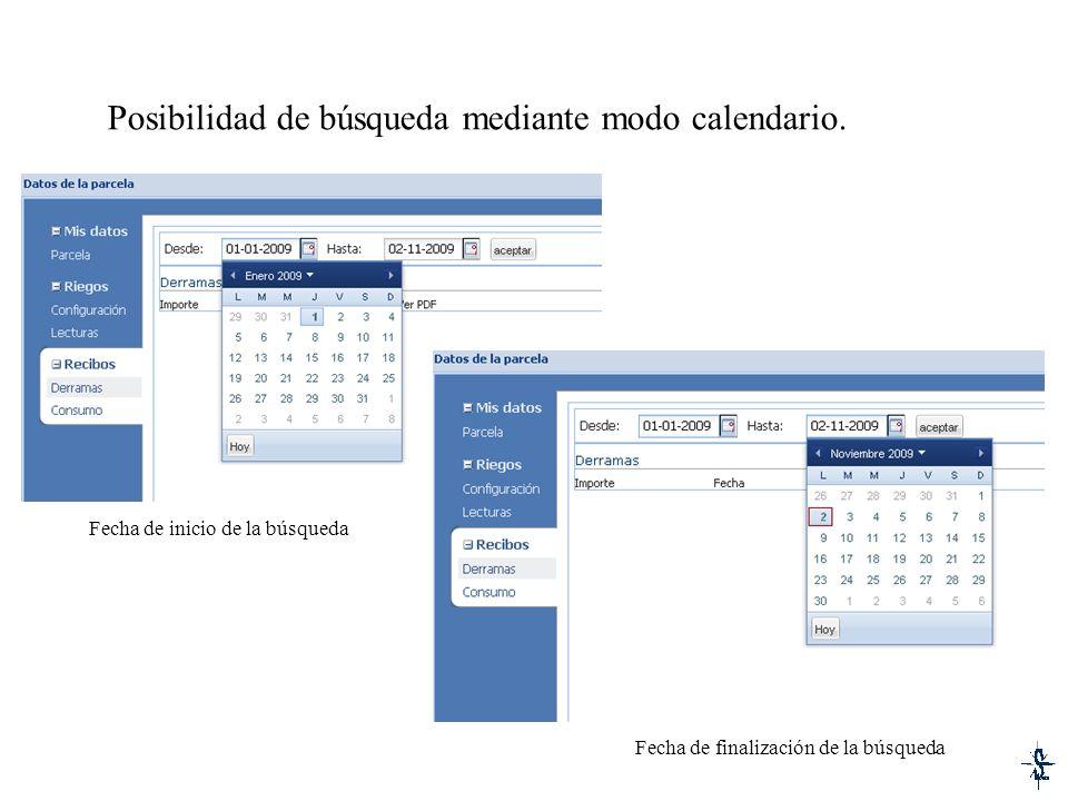 Posibilidad de búsqueda mediante modo calendario. Fecha de inicio de la búsqueda Fecha de finalización de la búsqueda
