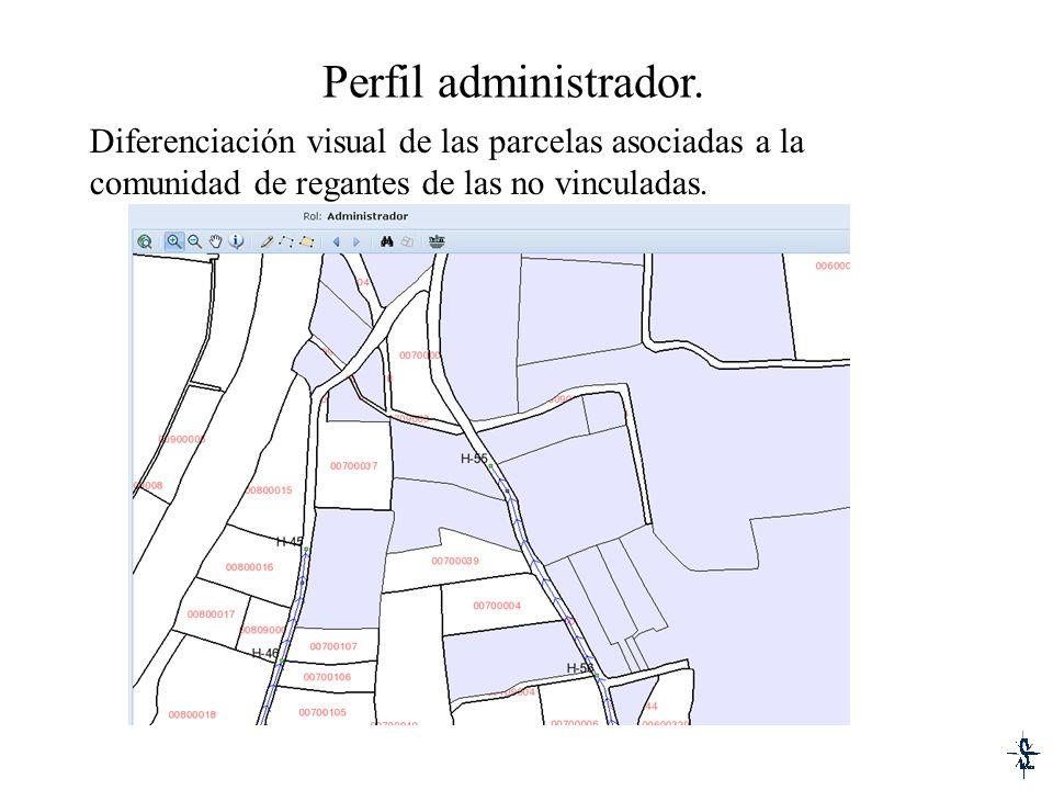 Perfil administrador. Diferenciación visual de las parcelas asociadas a la comunidad de regantes de las no vinculadas.