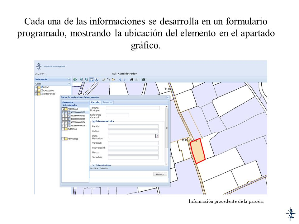 Cada una de las informaciones se desarrolla en un formulario programado, mostrando la ubicación del elemento en el apartado gráfico. Información proce