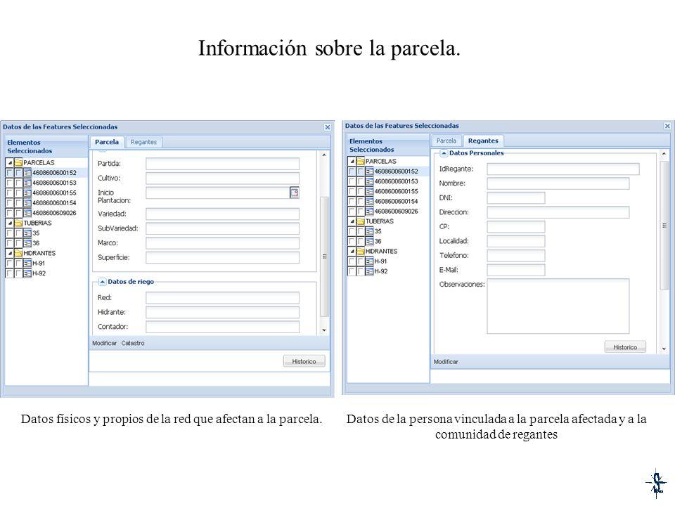 Información sobre la parcela. Datos físicos y propios de la red que afectan a la parcela.Datos de la persona vinculada a la parcela afectada y a la co