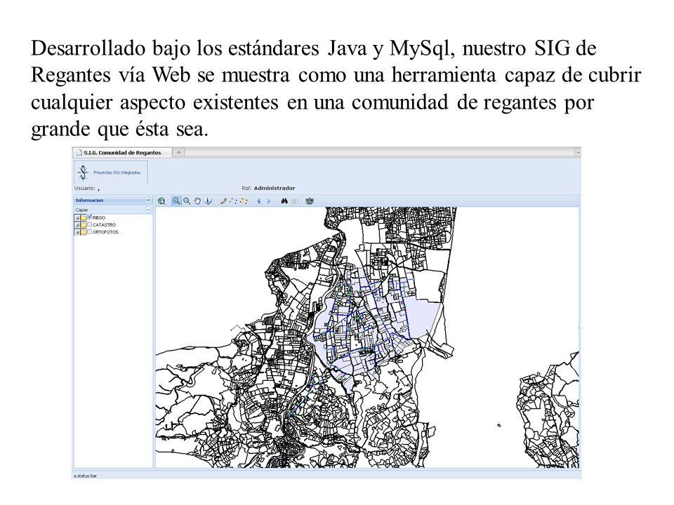 Desarrollado bajo los estándares Java y MySql, nuestro SIG de Regantes vía Web se muestra como una herramienta capaz de cubrir cualquier aspecto exist
