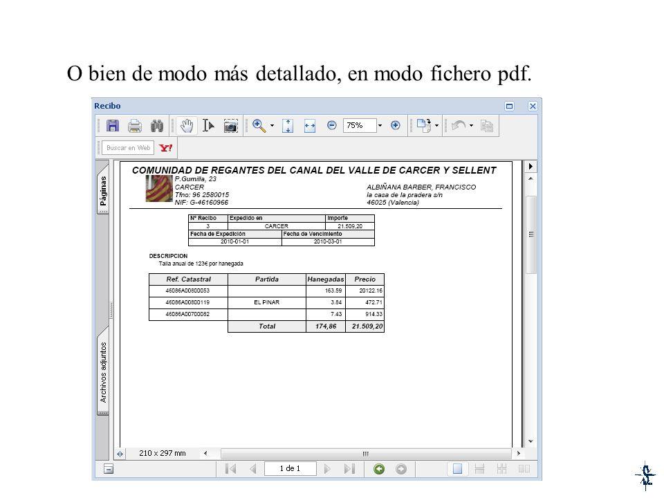O bien de modo más detallado, en modo fichero pdf.