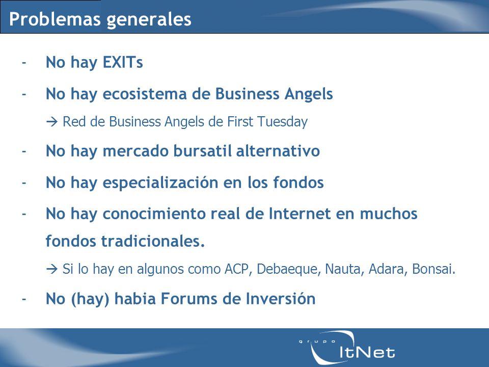 Problemas generales -No hay EXITs -No hay ecosistema de Business Angels Red de Business Angels de First Tuesday -No hay mercado bursatil alternativo -