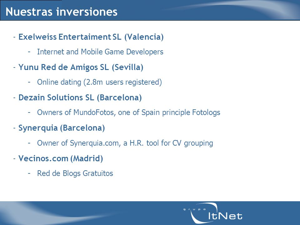 Nuestras inversiones - Exelweiss Entertaiment SL (Valencia) -Internet and Mobile Game Developers - Yunu Red de Amigos SL (Sevilla) -Online dating (2.8m users registered) - Dezain Solutions SL (Barcelona) -Owners of MundoFotos, one of Spain principle Fotologs - Synerquia (Barcelona) -Owner of Synerquia.com, a H.R.