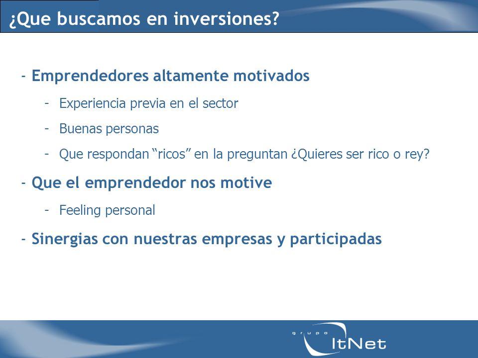 ¿Que buscamos en inversiones? - Emprendedores altamente motivados -Experiencia previa en el sector -Buenas personas -Que respondan ricos en la pregunt