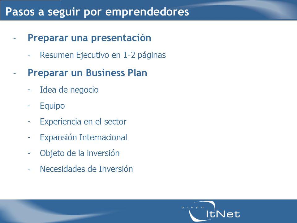 Pasos a seguir por emprendedores -Preparar una presentación -Resumen Ejecutivo en 1-2 páginas -Preparar un Business Plan -Idea de negocio -Equipo -Experiencia en el sector -Expansión Internacional -Objeto de la inversión -Necesidades de Inversión