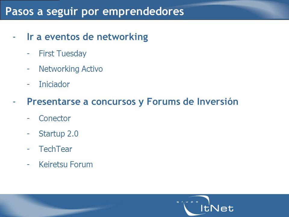 Pasos a seguir por emprendedores -Ir a eventos de networking -First Tuesday -Networking Activo -Iniciador -Presentarse a concursos y Forums de Inversión -Conector -Startup 2.0 -TechTear -Keiretsu Forum