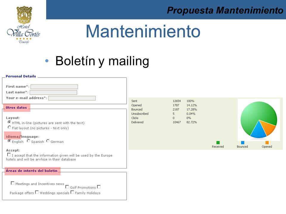 Boletín y mailing Mantenimiento Propuesta Mantenimiento Mantenimiento Propuesta Mantenimiento