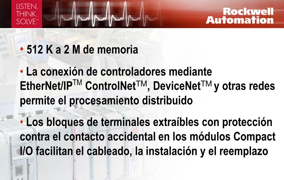 512 K a 2 M de memoria La conexión de controladores mediante EtherNet/IP TM ControlNet TM, DeviceNet TM y otras redes permite el procesamiento distrib