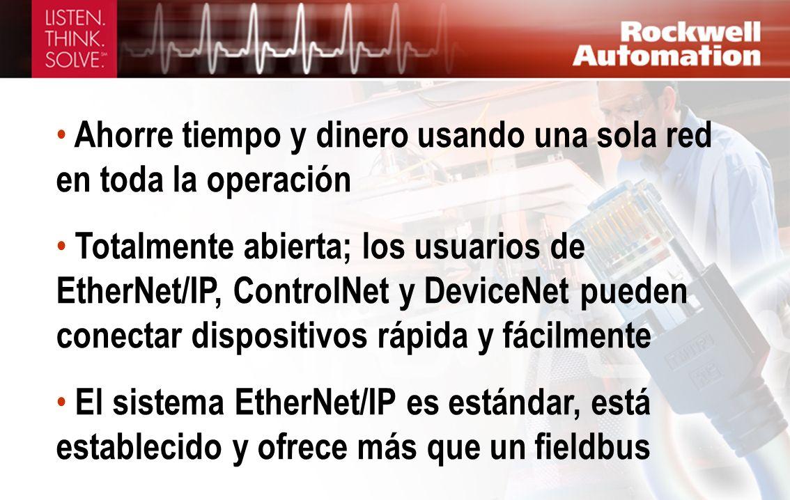 Ahorre tiempo y dinero usando una sola red en toda la operación Totalmente abierta; los usuarios de EtherNet/IP, ControlNet y DeviceNet pueden conecta