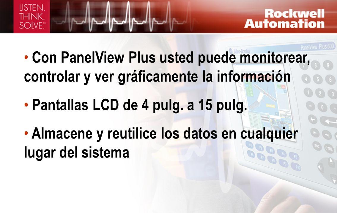 Con PanelView Plus usted puede monitorear, controlar y ver gráficamente la información Pantallas LCD de 4 pulg. a 15 pulg. Almacene y reutilice los da