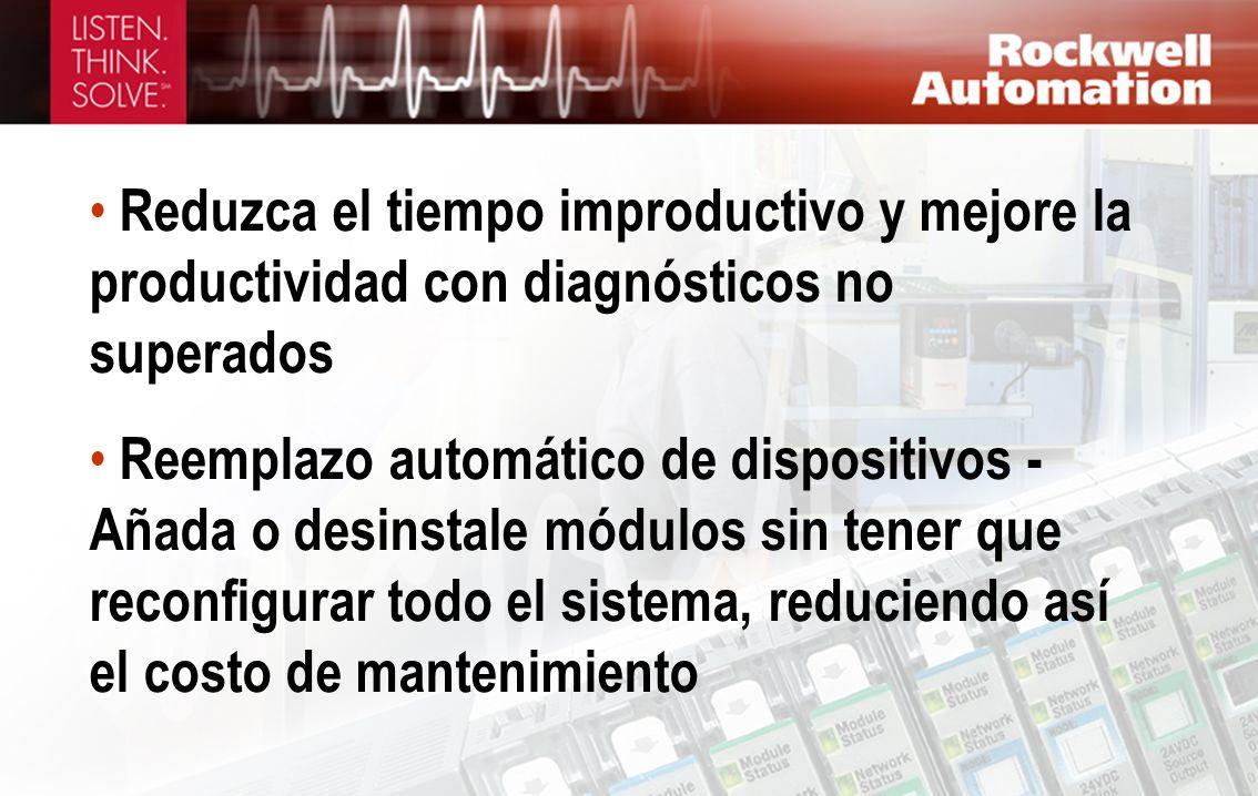 Reduzca el tiempo improductivo y mejore la productividad con diagnósticos no superados Reemplazo automático de dispositivos - Añada o desinstale módul