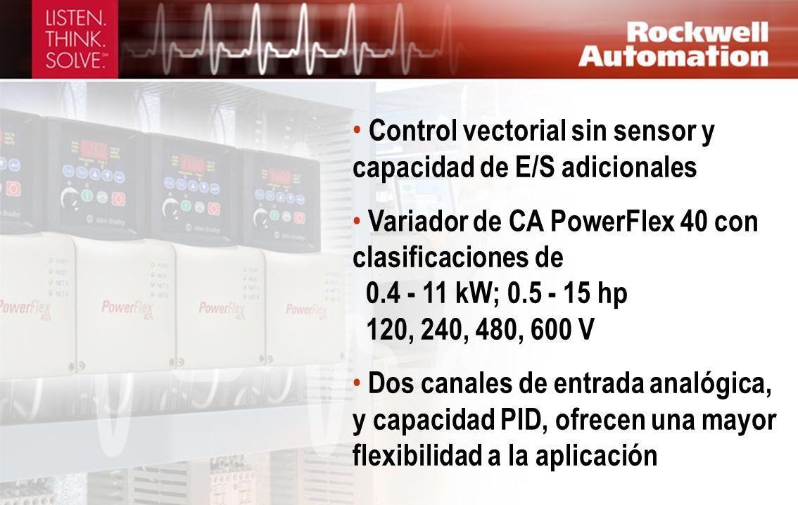 Control vectorial sin sensor y capacidad de E/S adicionales Variador de CA PowerFlex 40 con clasificaciones de 0.4 - 11 kW; 0.5 - 15 hp 120, 240, 480,