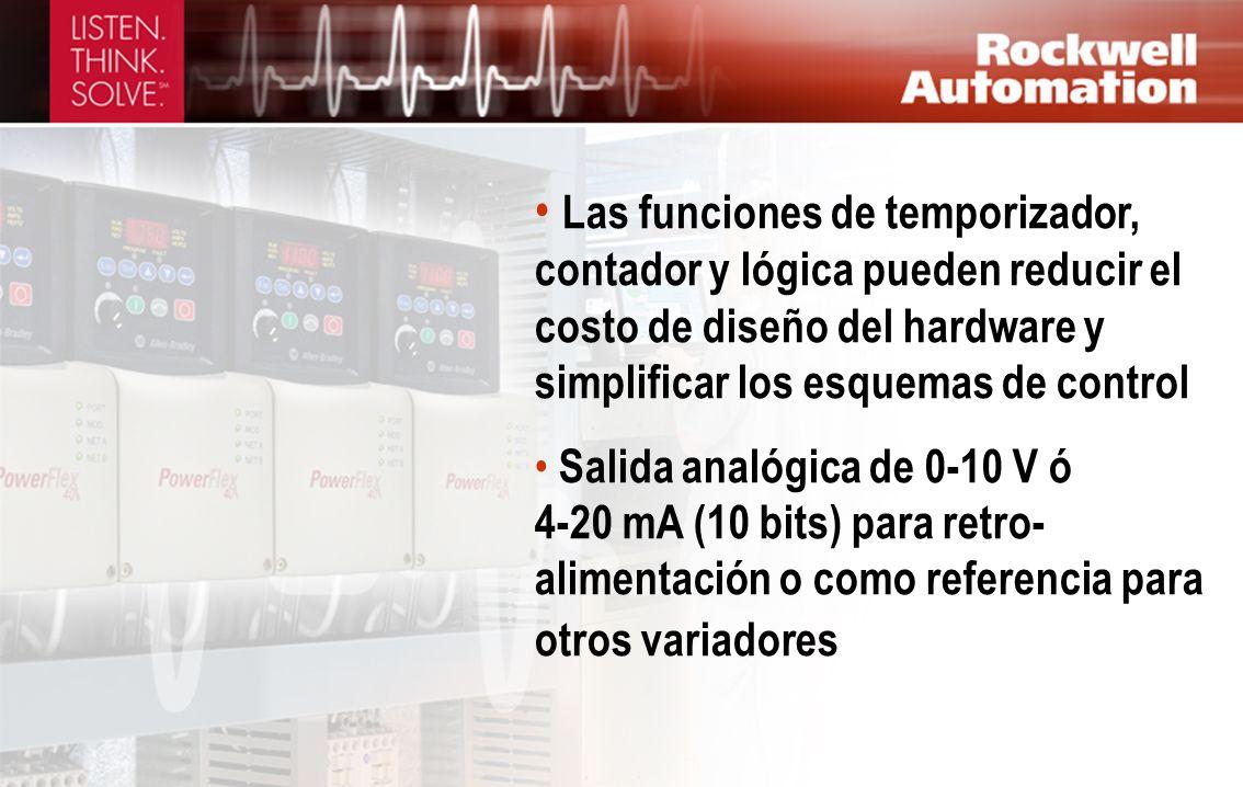 Las funciones de temporizador, contador y lógica pueden reducir el costo de diseño del hardware y simplificar los esquemas de control Salida analógica