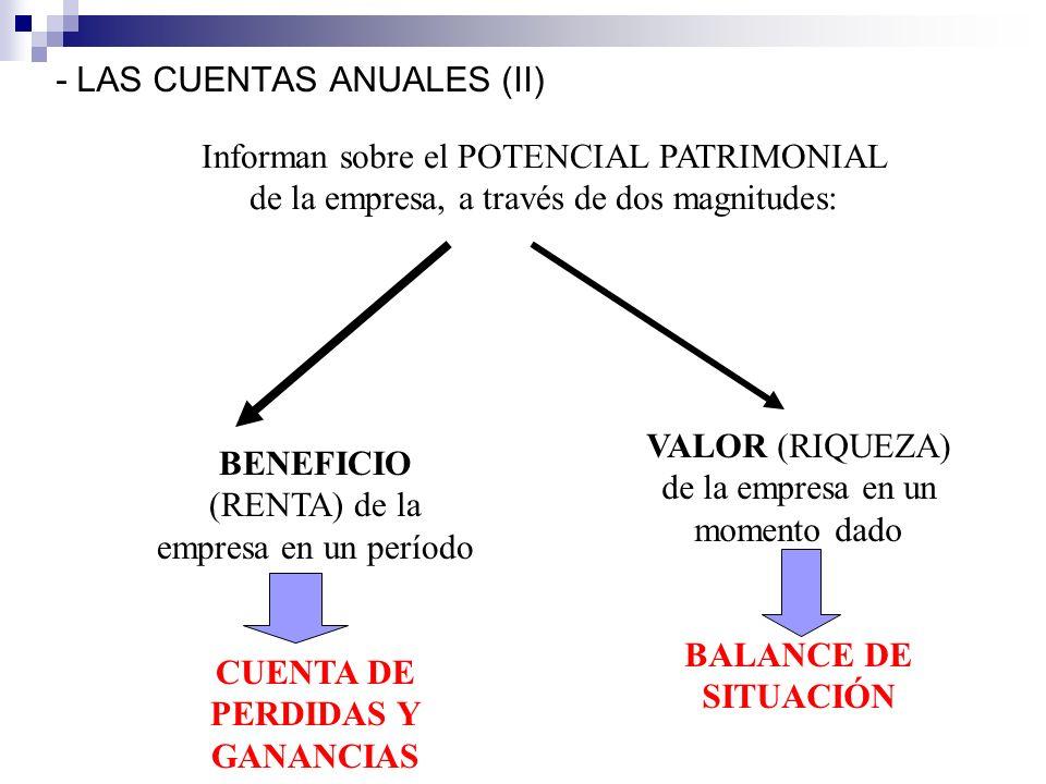 - LAS CUENTAS ANUALES (II) Informan sobre el POTENCIAL PATRIMONIAL de la empresa, a través de dos magnitudes: BENEFICIO (RENTA) de la empresa en un período CUENTA DE PERDIDAS Y GANANCIAS VALOR (RIQUEZA) de la empresa en un momento dado BALANCE DE SITUACIÓN