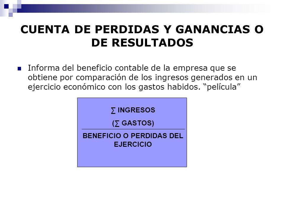 CUENTA DE PERDIDAS Y GANANCIAS O DE RESULTADOS Informa del beneficio contable de la empresa que se obtiene por comparación de los ingresos generados en un ejercicio económico con los gastos habidos.
