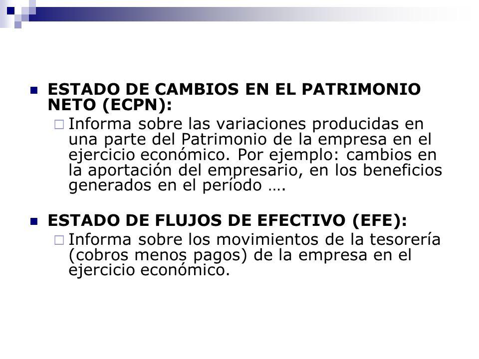 ESTADO DE CAMBIOS EN EL PATRIMONIO NETO (ECPN): Informa sobre las variaciones producidas en una parte del Patrimonio de la empresa en el ejercicio económico.