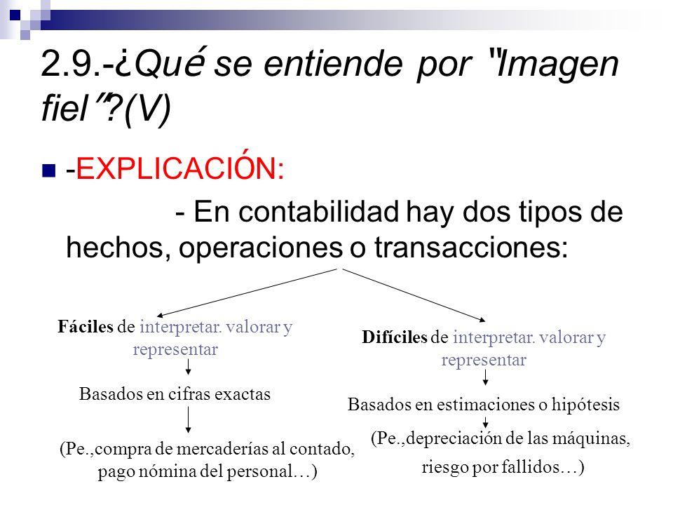 2.9.- ¿ Qu é se entiende por Imagen fiel ?(V) -EXPLICACI Ó N: - En contabilidad hay dos tipos de hechos, operaciones o transacciones: Fáciles de interpretar.